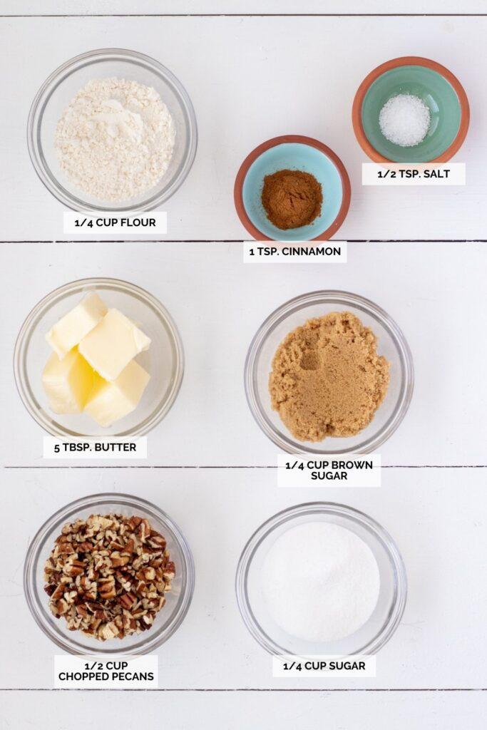 Ingredients for pecan brown sugar topping