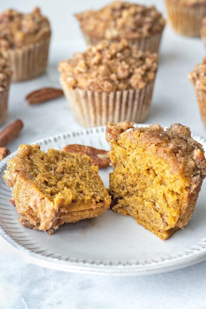 The inside of pumpkin spice muffins.