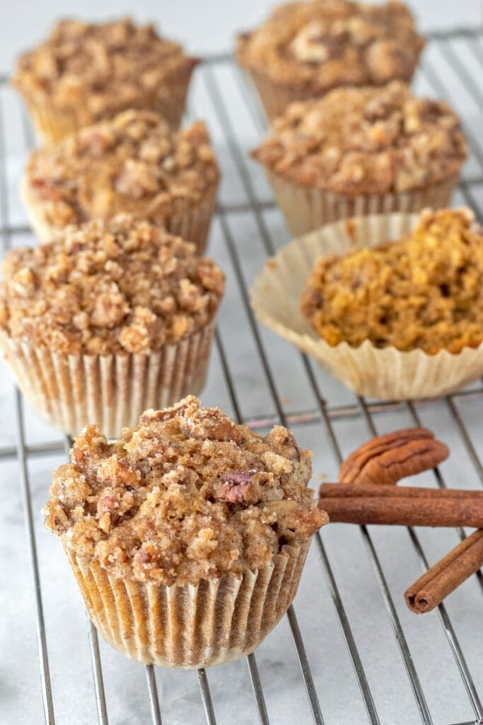 Pumpkin spice muffins are tender and fluffy. The perfect amount of pumpkin flavor is brought to the next level with browned butter, cinnamon, pecans, and pumpkin pie spice.