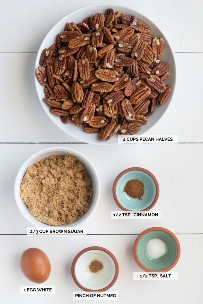 Ingredients for sugared pecans