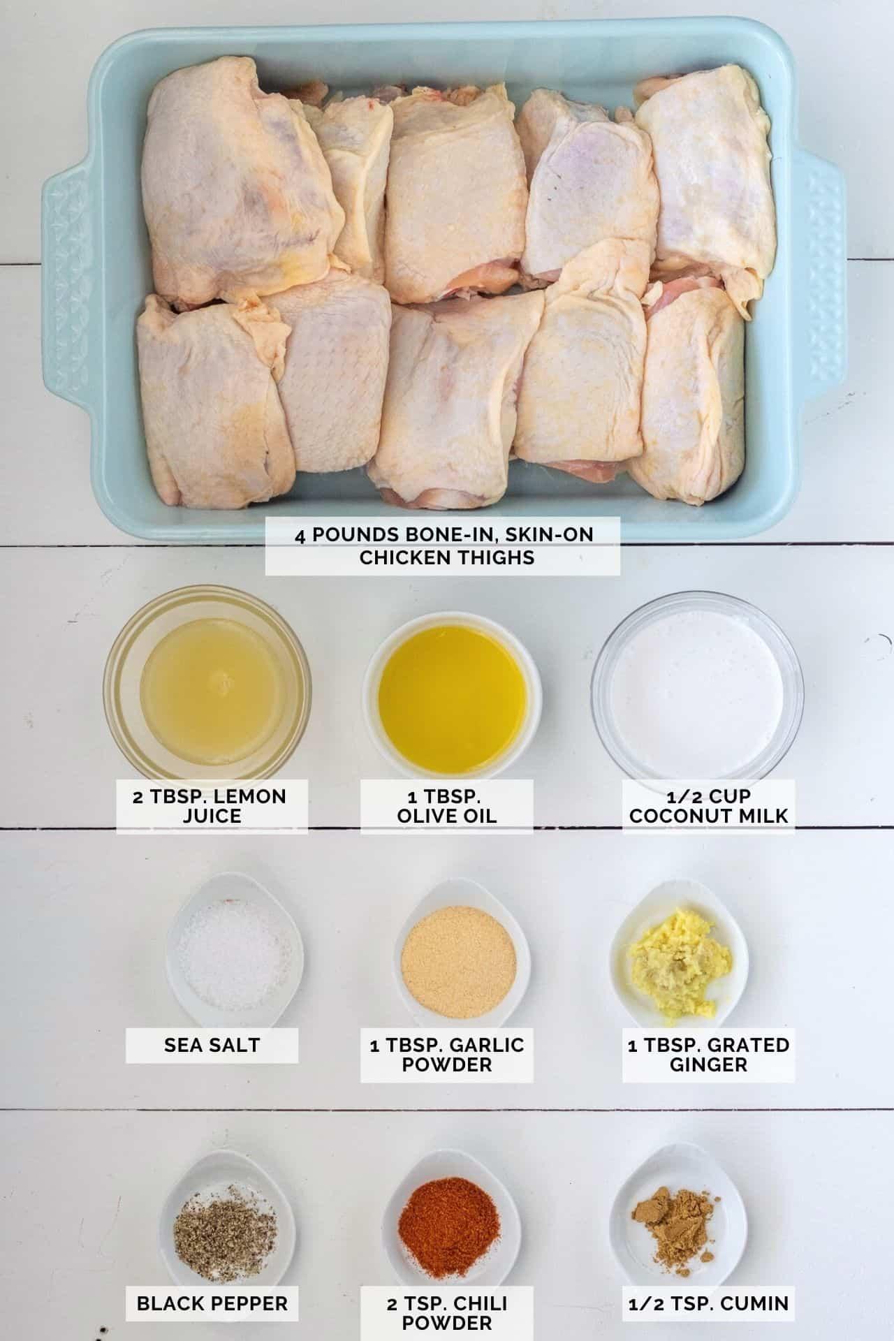 Ingredients needed to make garlic chili chicken thighs