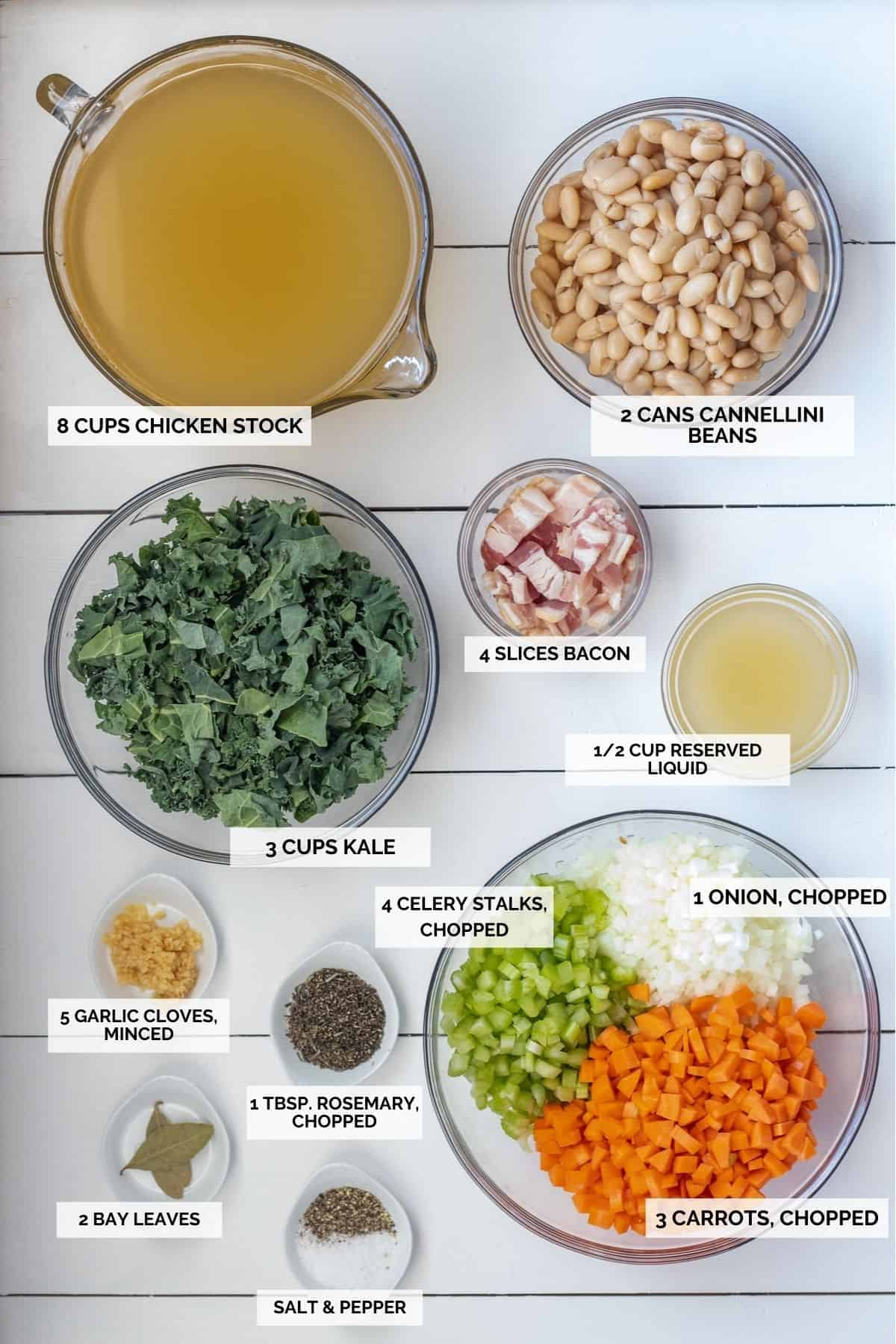 Ingredients to make kale and white bean soup