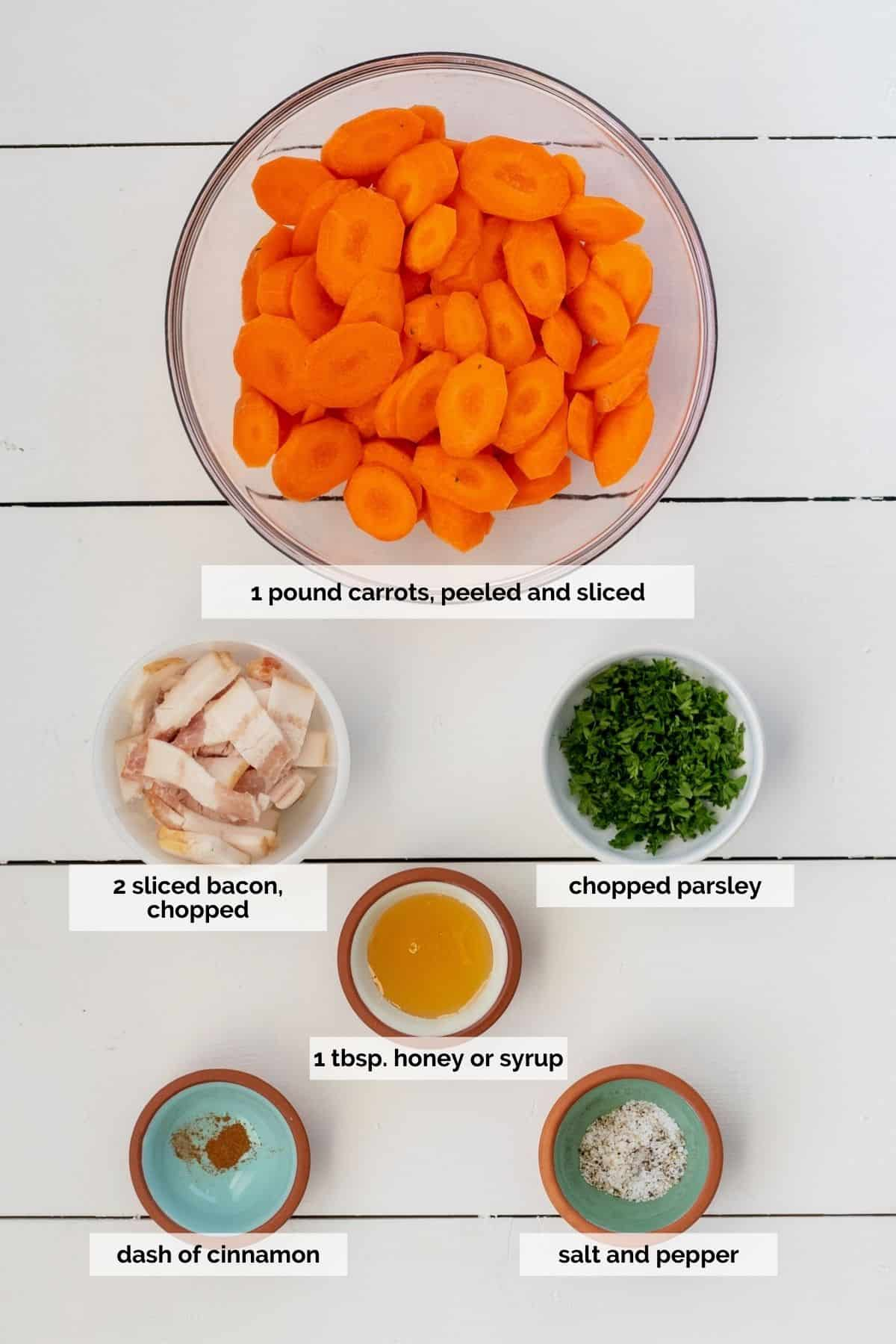 Ingredients needed to make sautéed carrots
