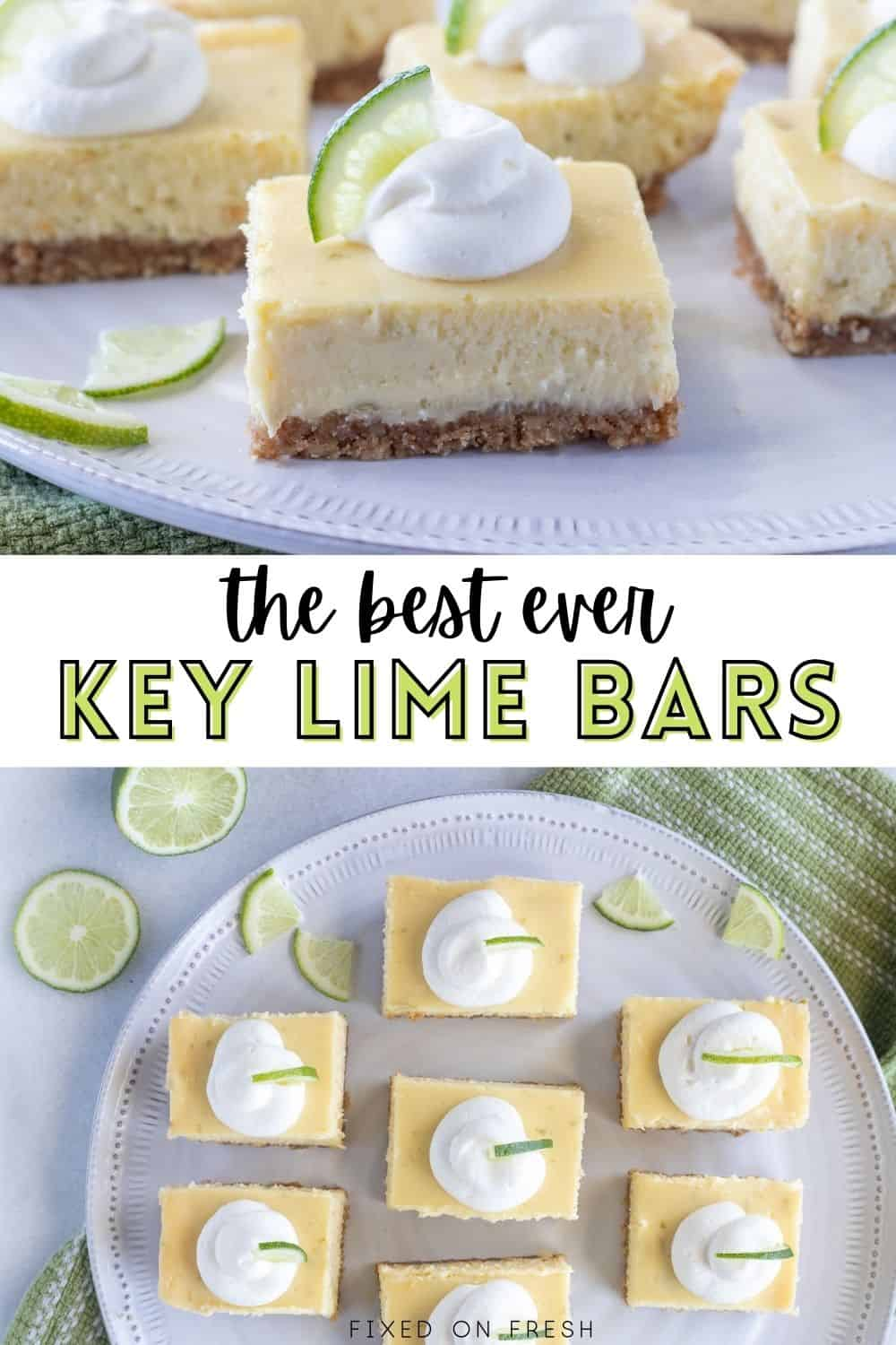 Key lime bars have creamy and tart key lime filling over a pecan graham cracker crust. This is the perfect mini dessert for all your spring and summer gatherings!