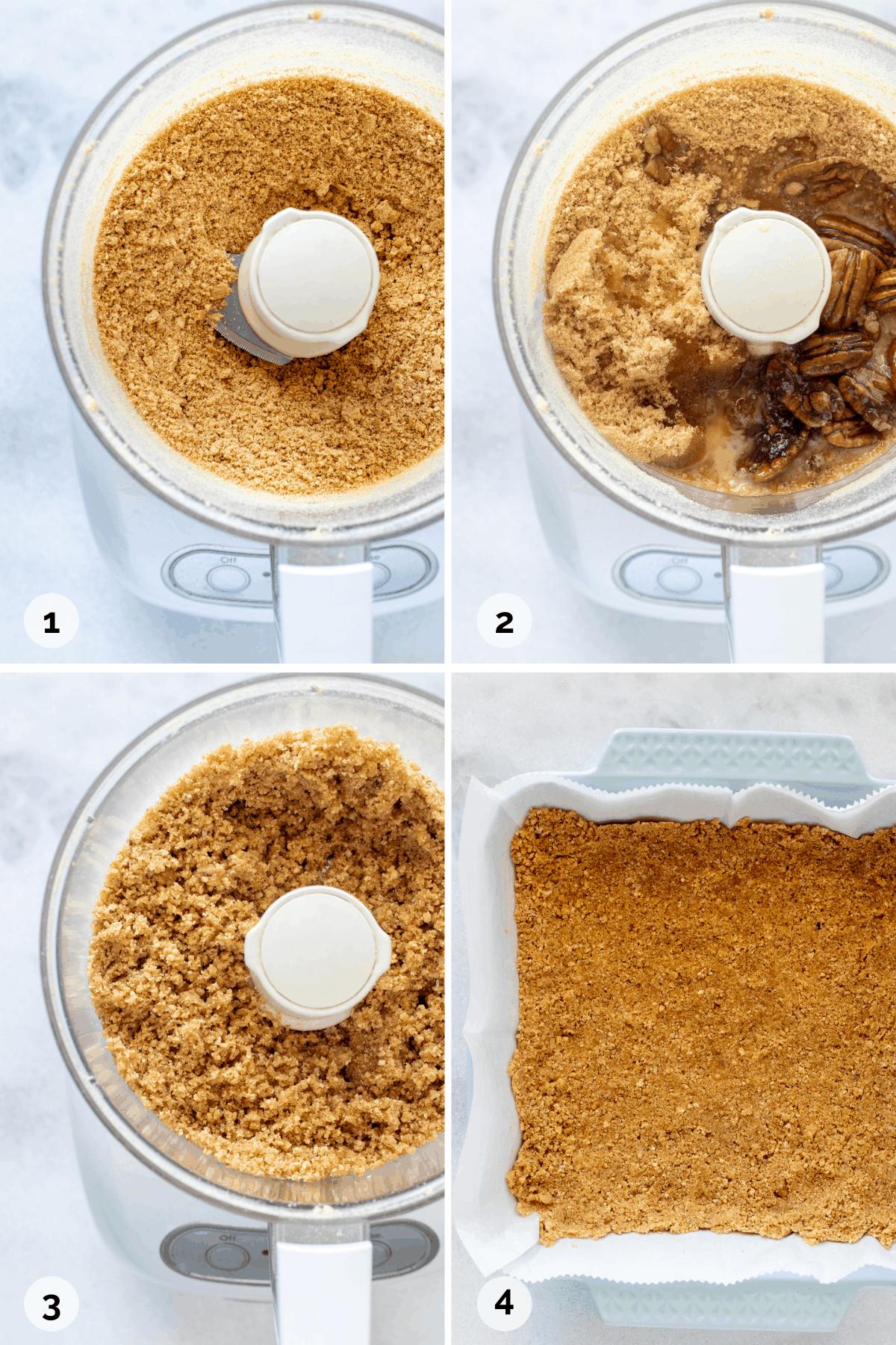 How to make graham cracker pecan crust in the food processor.