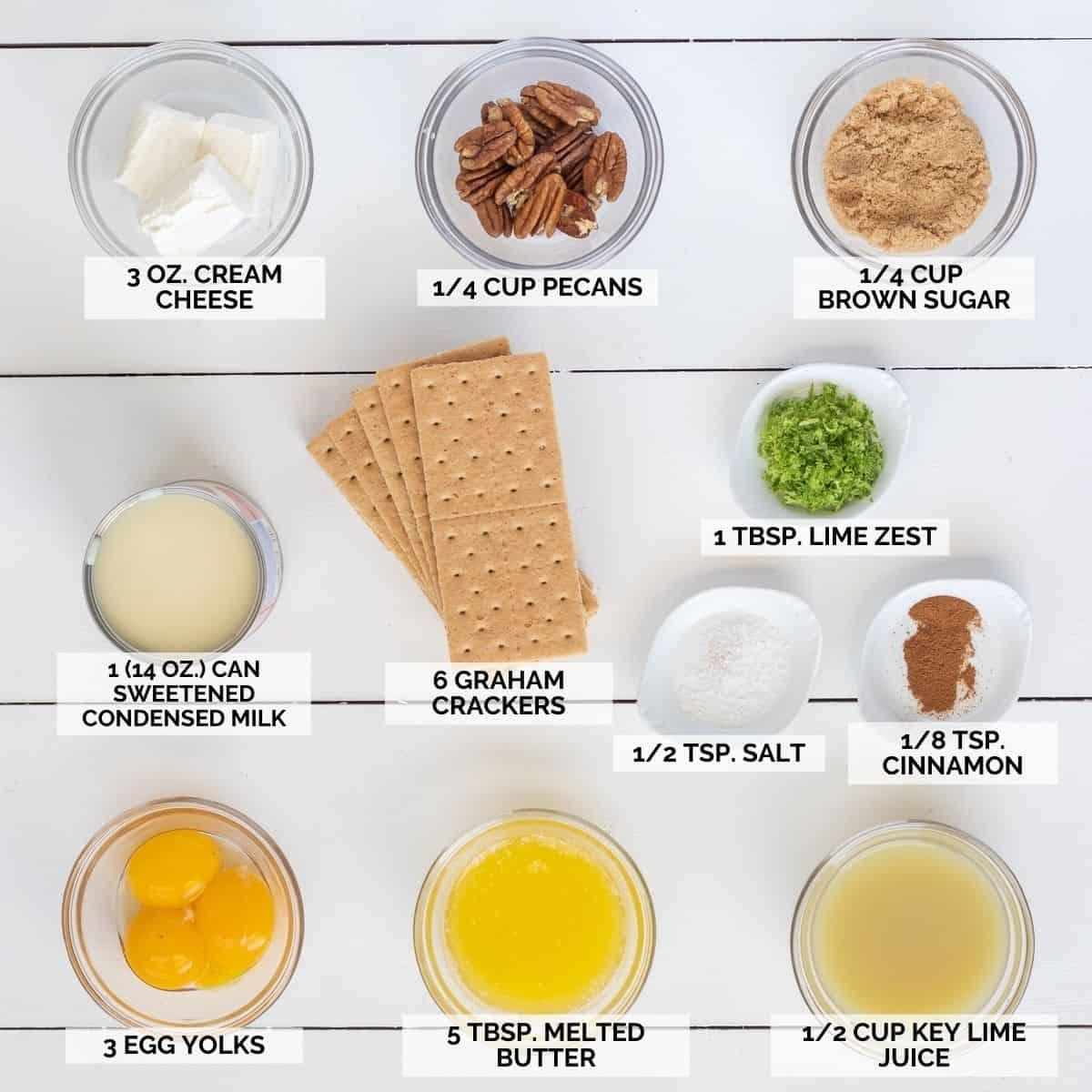 Ingredients needed to make key lime pie bar recipe