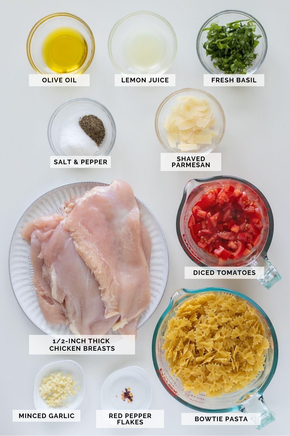 Ingredients needed to make bruschetta chicken pasta