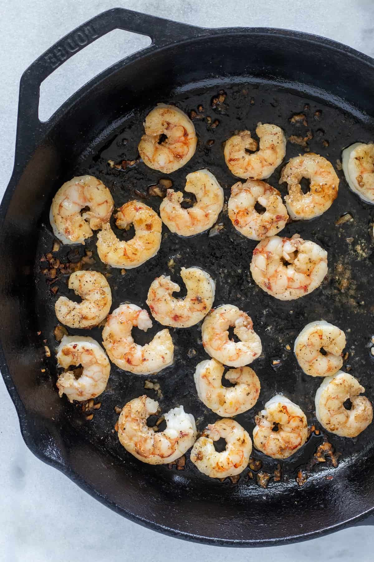 Sauté the shrimp for 2 minutes on the second side